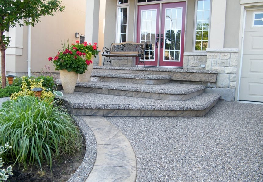 Concrete Walkways & Stamped Border